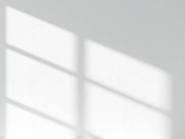 3d ilustracja cienia r. na białej ścianie sztukaterii - okno zdjęcia i obrazy z banku zdjęć