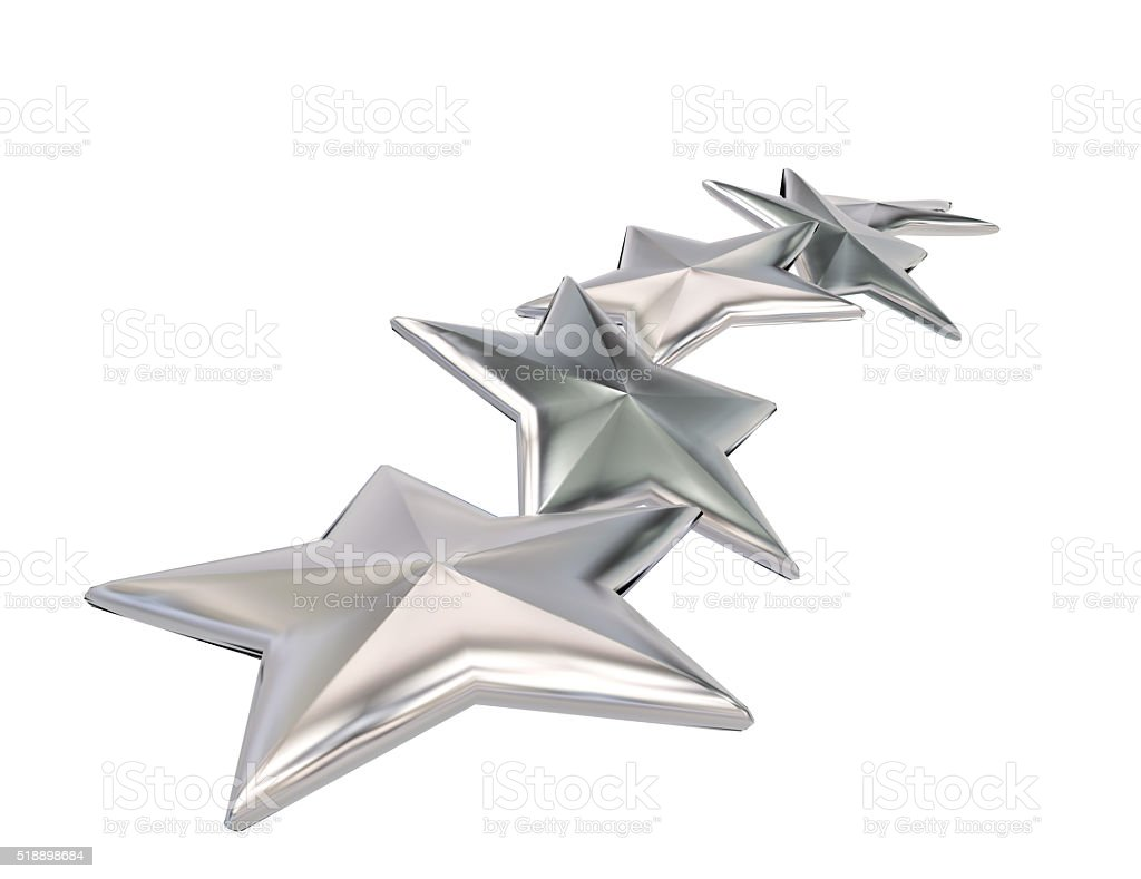 3d illustration of silver stars rating symbol stock photo