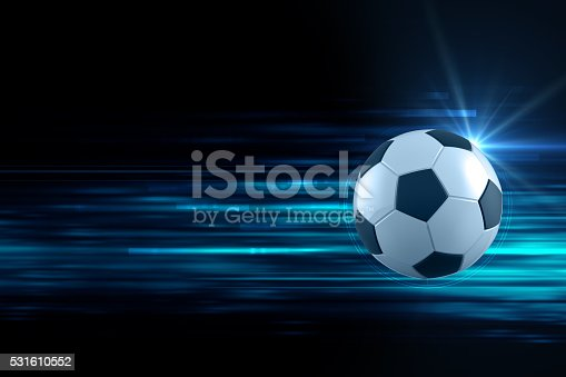 istock 3d illustration of soccer ball in blue light streak background 531610552