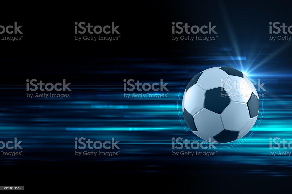3d illustration of soccer ball in blue light streak background stock photo