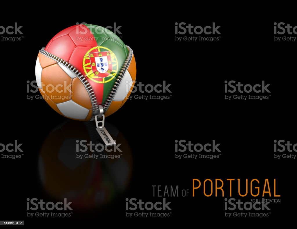 3d Illustration Of Soccer Ball With Portugal Flag Isolated On Black