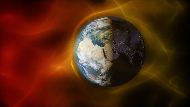3d illustration of solar wind colliding with earth's magnetic field - flare foto e immagini stock