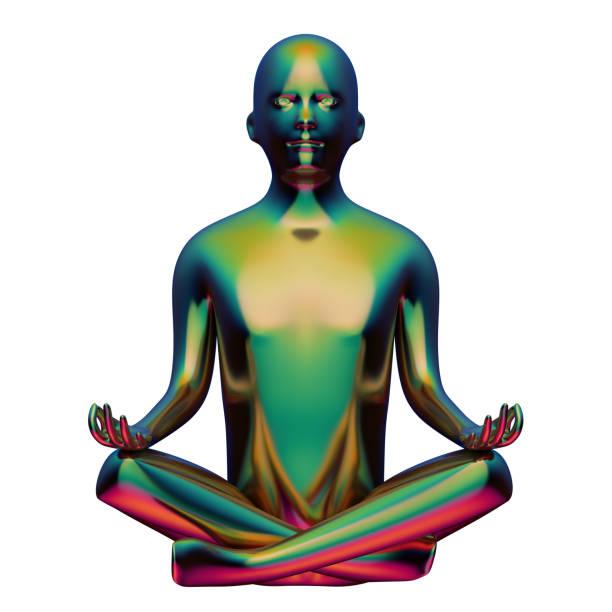 3d illustration der stilisierten mann figur yoga lotus pose grün golden - achtsamkeit persönlichkeitseigenschaft stock-fotos und bilder