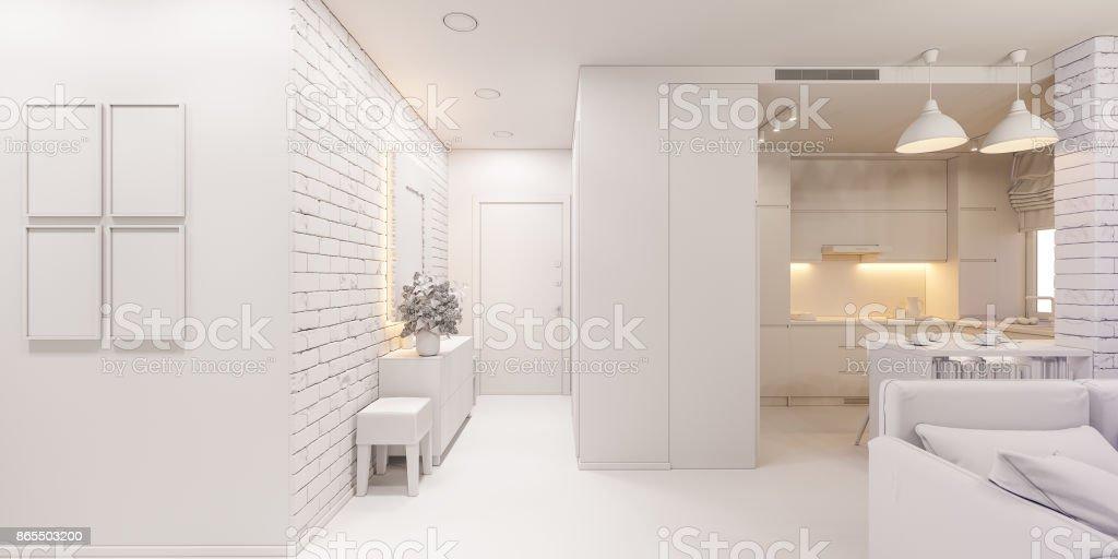 3d Illustration Die Inneneinrichtung Einer Wohnung Im