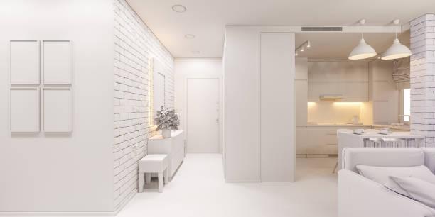 3d illustration die inneneinrichtung einer wohnung im skandinavischen stil. architektur-visualisierung des inneren flur und wohnzimmer in weißen farben ambient occlusion - eingangshalle wohngebäude innenansicht stock-fotos und bilder