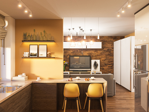 3d illustration of the interior design of the kitchen in a modern Scandinavian style. Hygge interior render