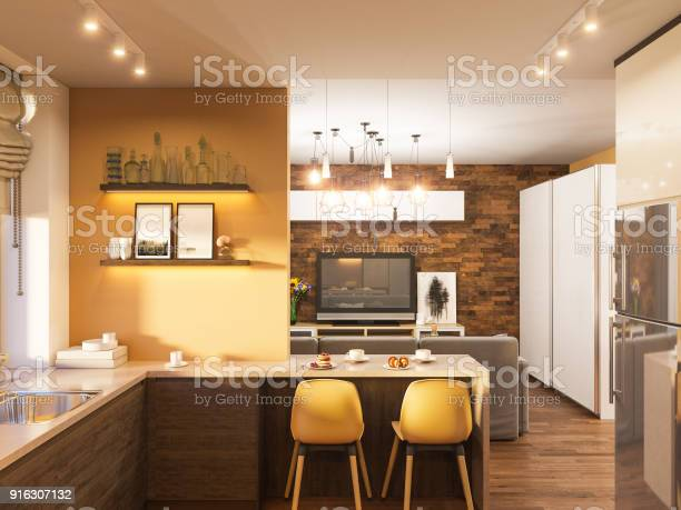 3d illustration of the interior design of the kitchen in a modern picture id916307132?b=1&k=6&m=916307132&s=612x612&h=8cbjok3smaw27mwb8yw6gnqr07e2ghhw6kqo3revhks=