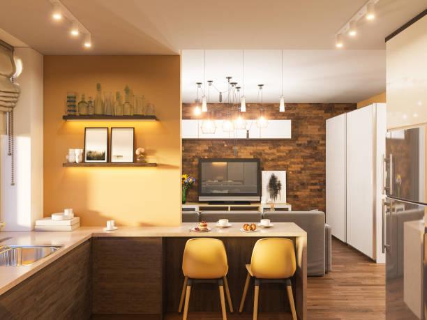 3d illustration of the interior design of the kitchen in a modern picture id916307132?b=1&k=6&m=916307132&s=612x612&w=0&h=keb8h axa5i38nkiwkyxxnkc uog9p7hm4qxo4uk3ue=