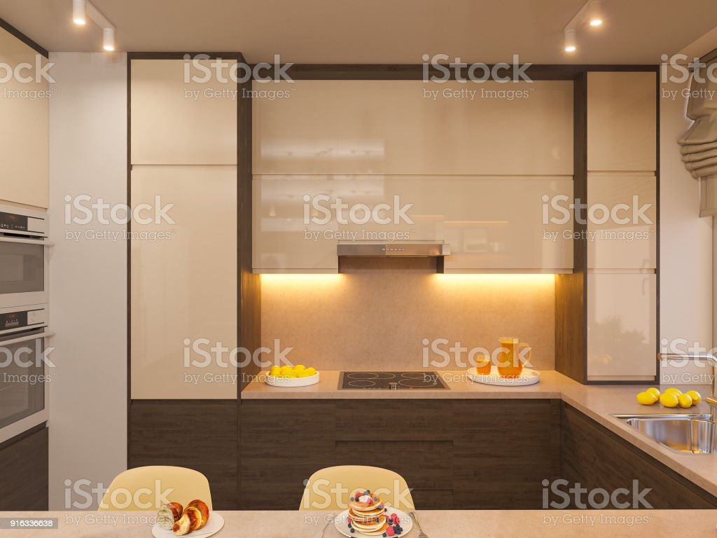 3d Illustration Of The Interior Design Of The Kitchen In A