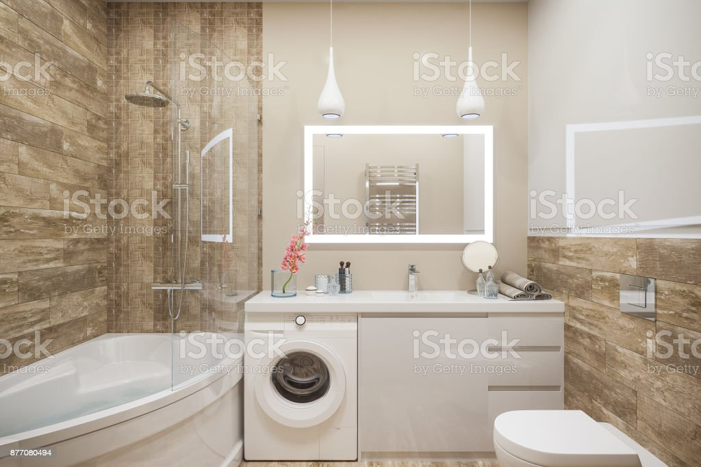 3d illustration of the interior of the bathroom in a modern style with a corner bath. Render interior design is executed in beige and white color stock photo