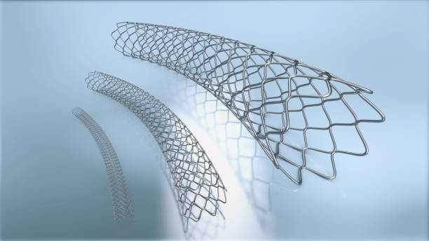 3d illustration of three metal stents for implantation and supporting blood circulation into blood vessels stock photo