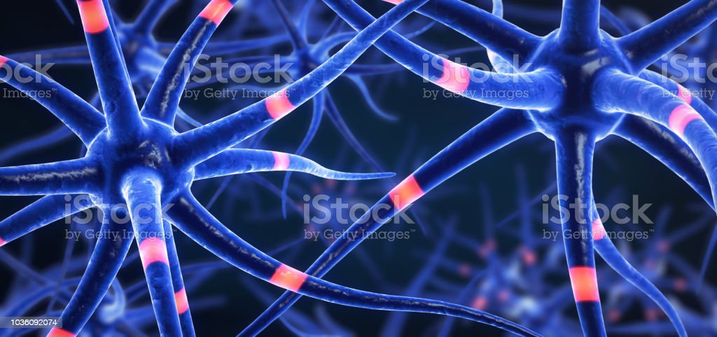 3d illustration of transmitting brain cells stock photo