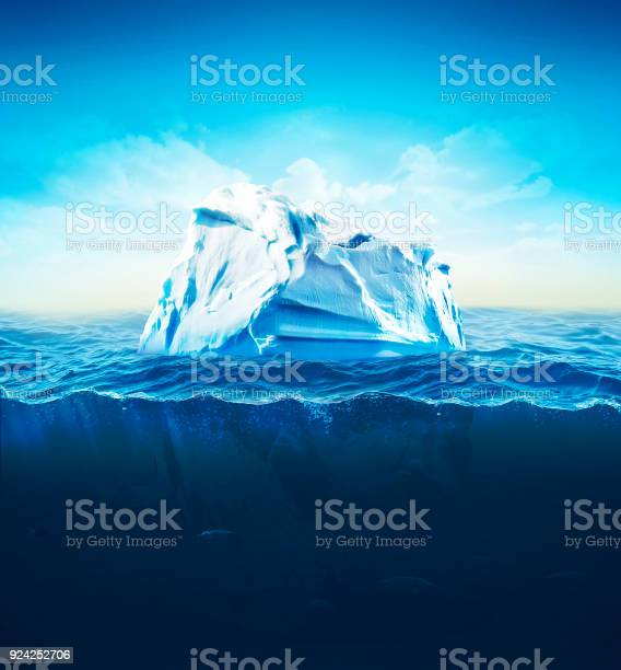 Photo of 3d Illustration of underwater iceberg with sea on background. Global Warming.