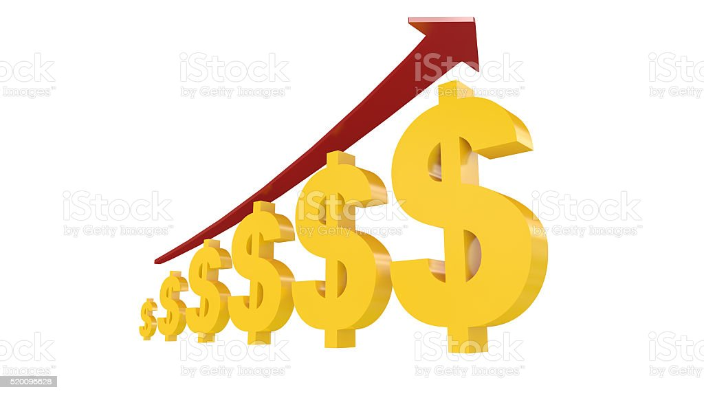 3d Illustration Of Us Dollar Symbols With Rising Arrow Stock Photo