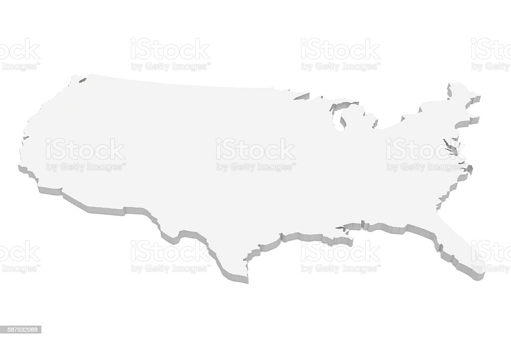 3d Illustration of USA Map Isolated On A White Background stock photo