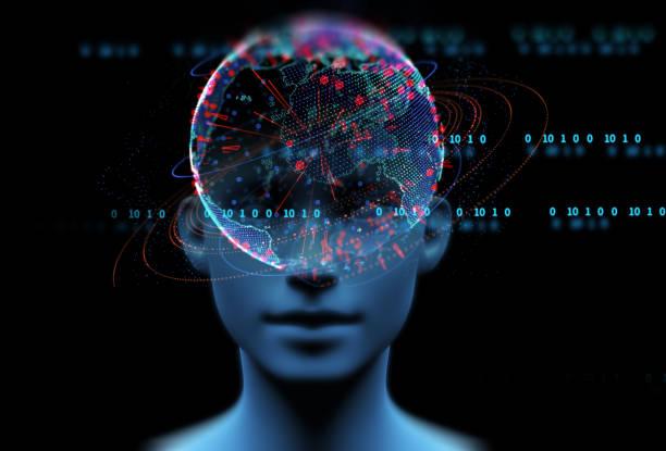ilustración 3d de humano virtual sobre fondo tecnológico. - inteligencia artificial fotografías e imágenes de stock