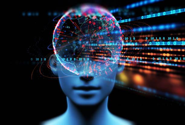 3d illustration of virtual human on technology background. stock photo