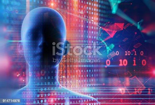 istock 3d illustration of virtual human on technology background. 914714976