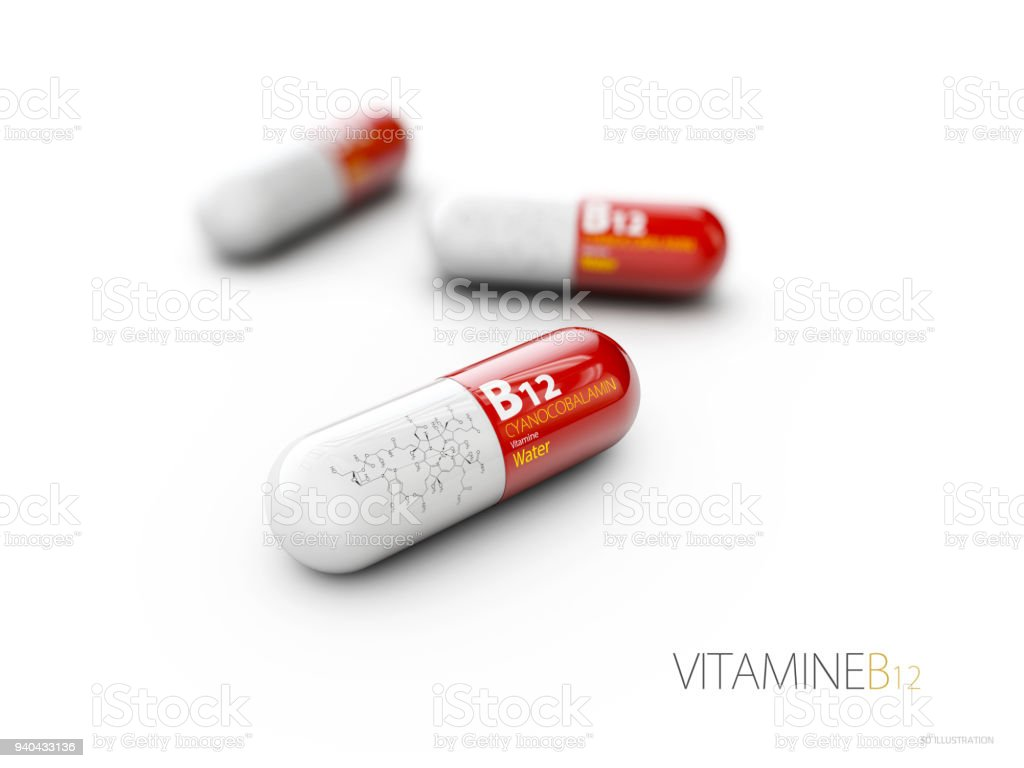 3d Illustration of Vitamin B12 Capsule with formule, isolated white stock photo