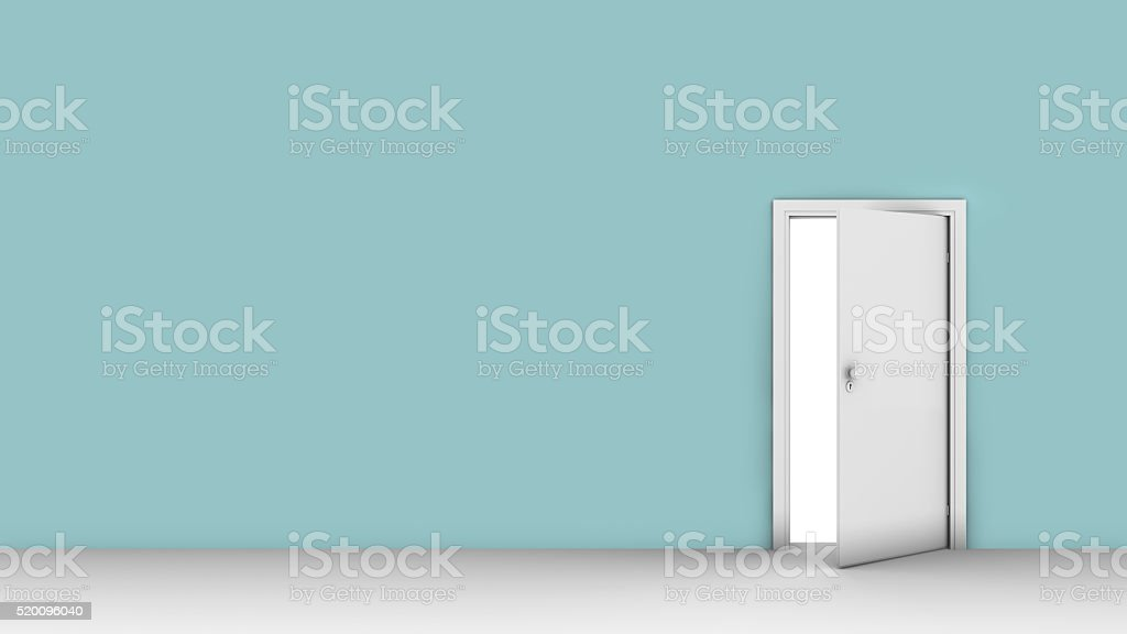 3d illustration of wall with opened door stock photo