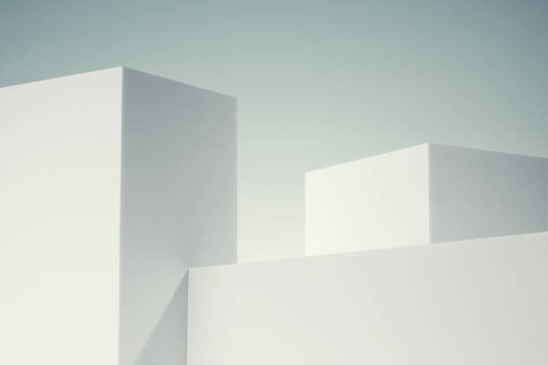 3d illustration of white minimal buildings stock photo