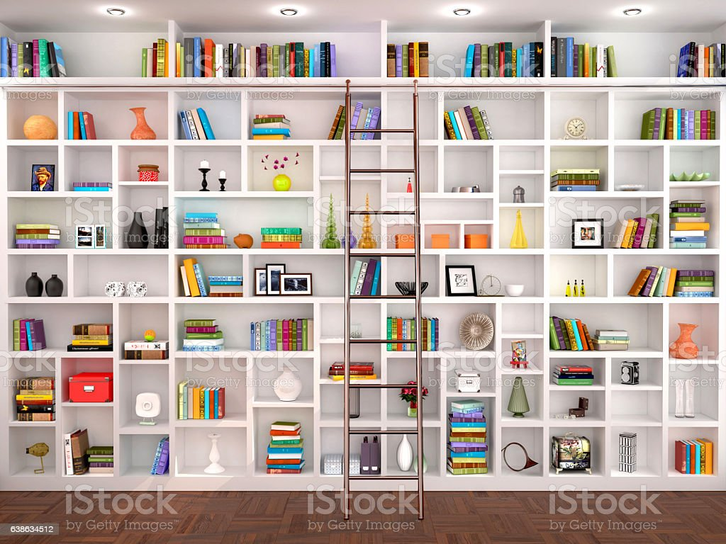3d illustration of White shelves in the interior stock photo