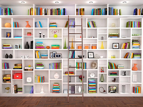 3d illustration of White shelves in the interior – Foto