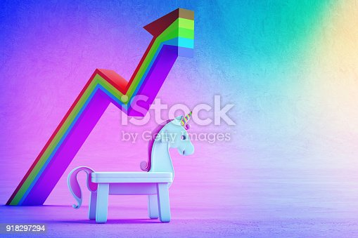istock 3d illustration of white toy unicorn and financial graph on colorful floor with rainbow background in startup business success concept. 918297294