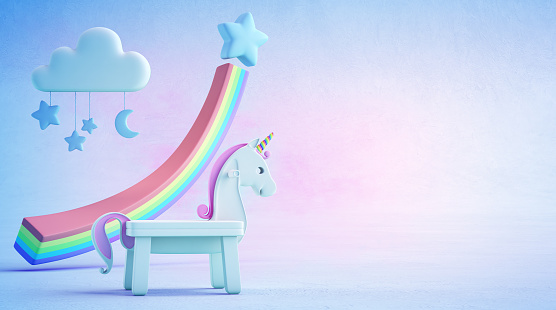 istock 3d illustration of white toy unicorn and rainbow financial graph on blue floor with colorful sky background in startup business success concept. 918478378
