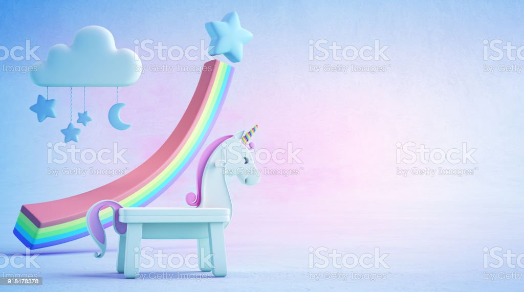 3d illustration of white toy unicorn and rainbow financial graph on blue floor with colorful sky background in startup business success concept. stock photo