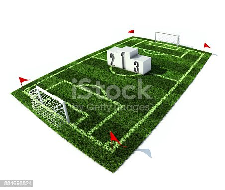 istock 3d illustration of winners podium on the football field 884698824