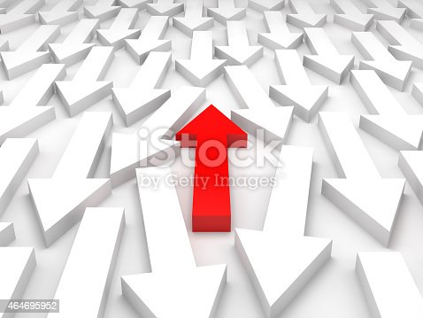 1023882582istockphoto 3d illustration, one red arrow goes opposite 464695952