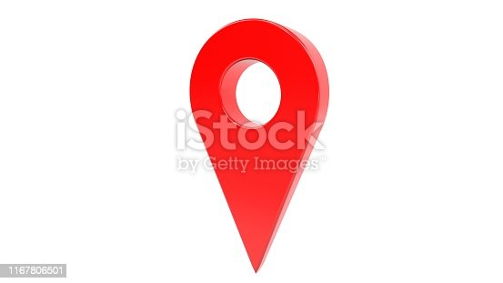 835195838istockphoto 3d illustration: One red map gps pointer symbol  isolated on white background. 1167806501
