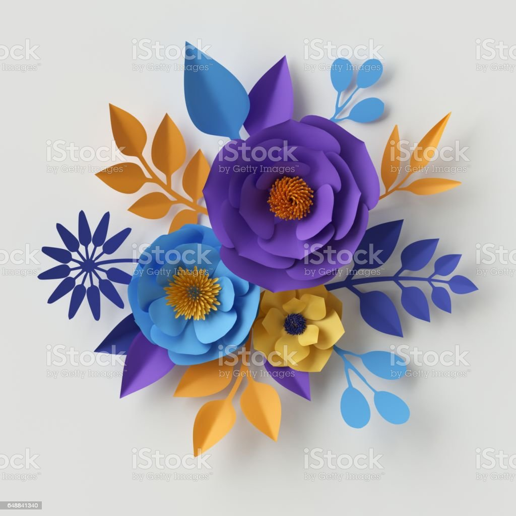 3d Illustration Paper Flowers Floral Background Valentines Day Heart