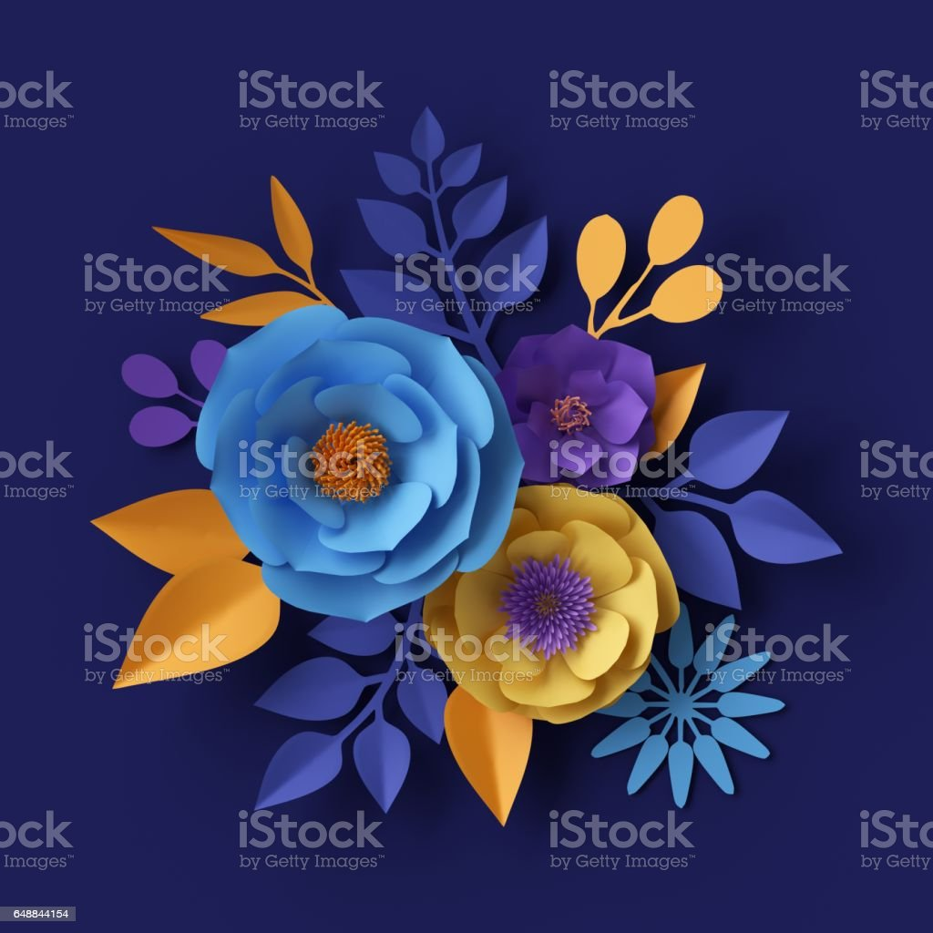 3d illustration, paper flowers, floral background, Valentine's day heart stock photo
