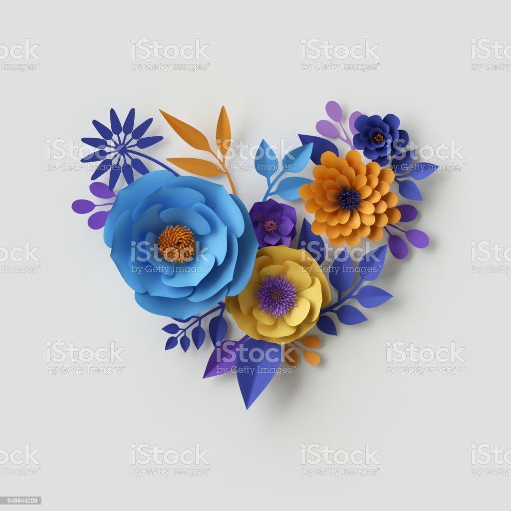 3D Illustration, Papierblumen, Valentinstag Herz Blumenkarte – Foto