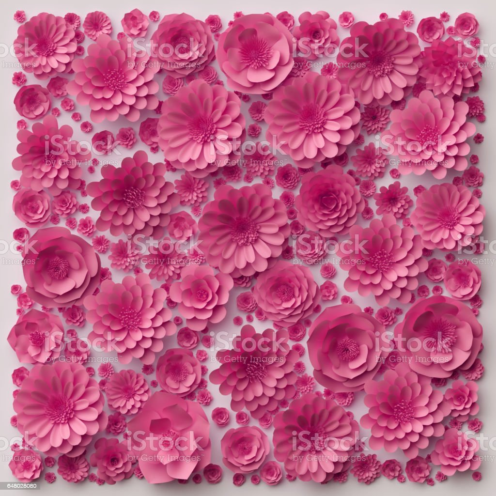 3d Illustration Pink Paper Flowers Floral Background Valentines Day Wall Decor Royalty