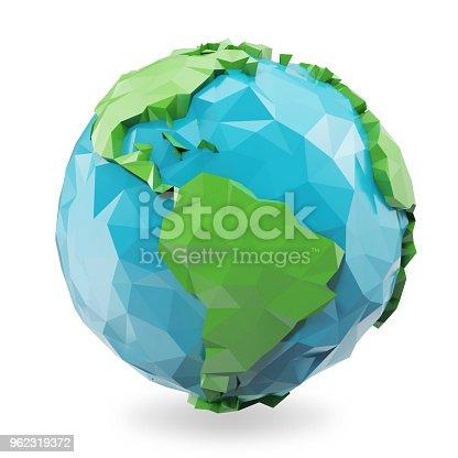 istock 3d illustration Polygonal style illustration of earth. Low poly earth illustration. Polygonal globe icon. 962319372