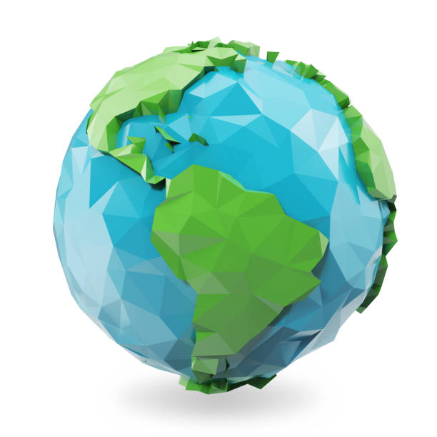 3d illustration polygonal style illustration of earth. low poly earth illustration. polygonal globe icon. - continent geographic area stock photos and pictures