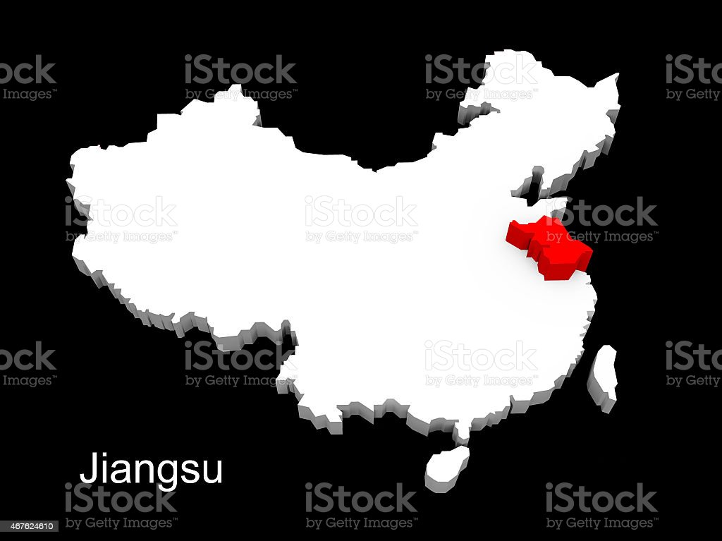 3d illustration province of china,focus on jiangsu stock photo