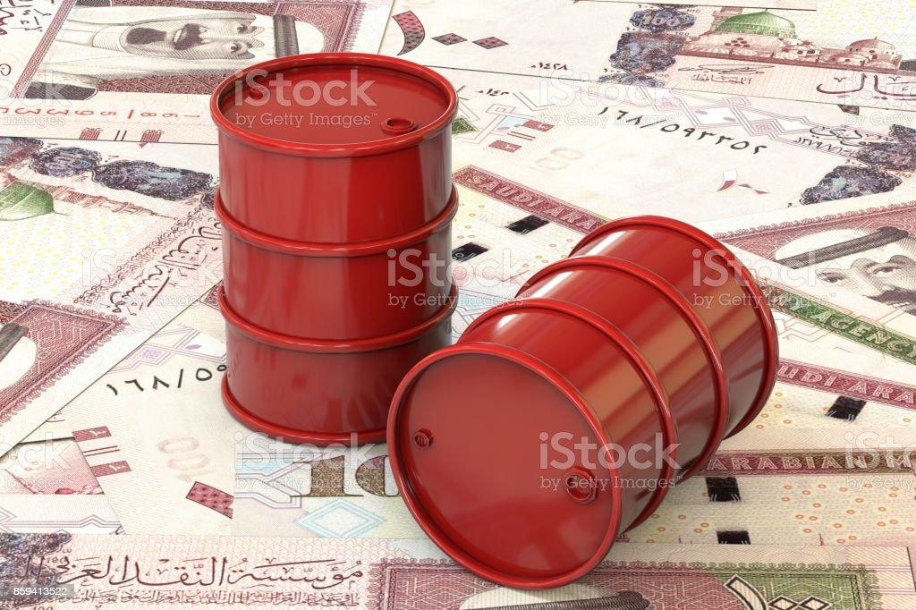 3d illustration: Red barrels of oil lie on background of banknote one hundred riyals, Saudi Arabia. Petroleum business, black gold, gasoline production. Purchase sale, auction, stock exchange. stock photo