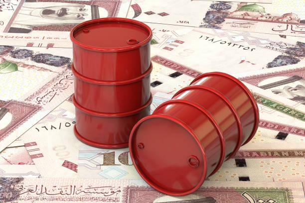 3d illustration: red barrel öl liegen auf grund der banknote ein hundert rial, saudi arabien. geschäft, schwarzes gold, benzin erdölproduktion. kauf, verkauf, auktion, börse. - opec stock-fotos und bilder