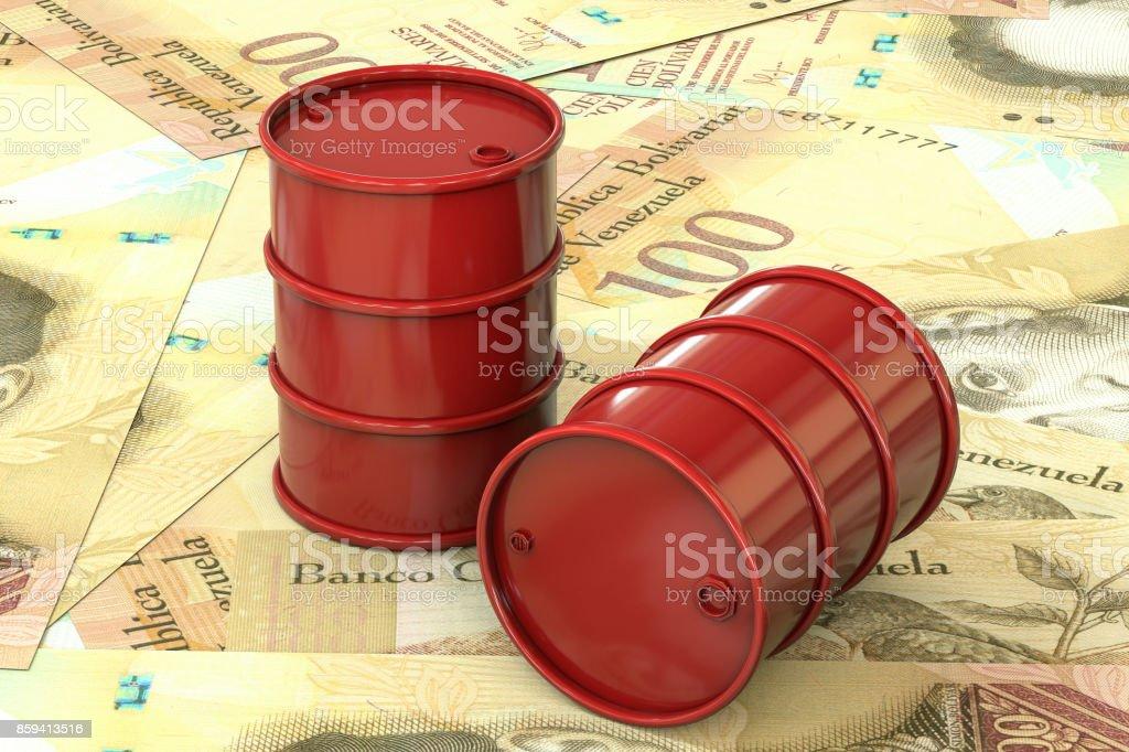 3d illustration: Red barrels of oil lie on background of banknote hundred Venezuelan Bolivar, Venezuela. Petroleum business, black gold, gasoline production. Purchase sale, auction, stock exchange. stock photo