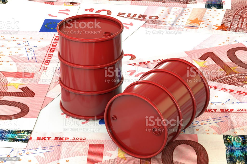 3d illustration: Red barrels of oil lie on the background of banknote of ten Euro, European Union. Money. Petroleum business, black gold, gasoline production. Purchase sale, auction, stock exchange. stock photo