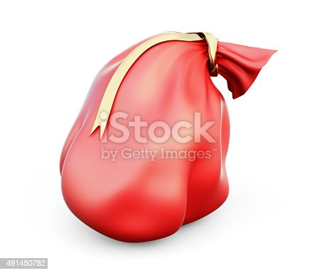 istock 3d illustration red christmas bag with gifts 491450782