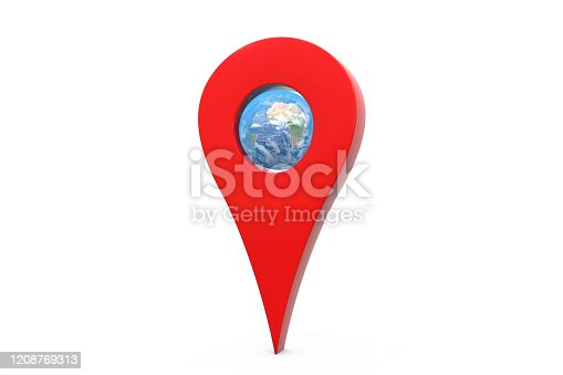 istock 3d illustration: red gps pointer symbol with the blue planet - earth inside it. White background isolated. 1208769313