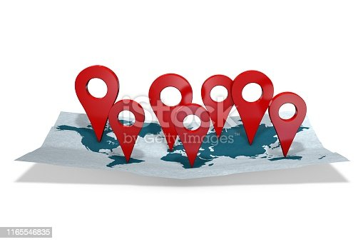 1151956281 istock photo 3d illustration: red gps pointers - arrows on the world map are directed to different continents or countries. Tourism and business concept. Your company's activities cover the whole world. 1165546835