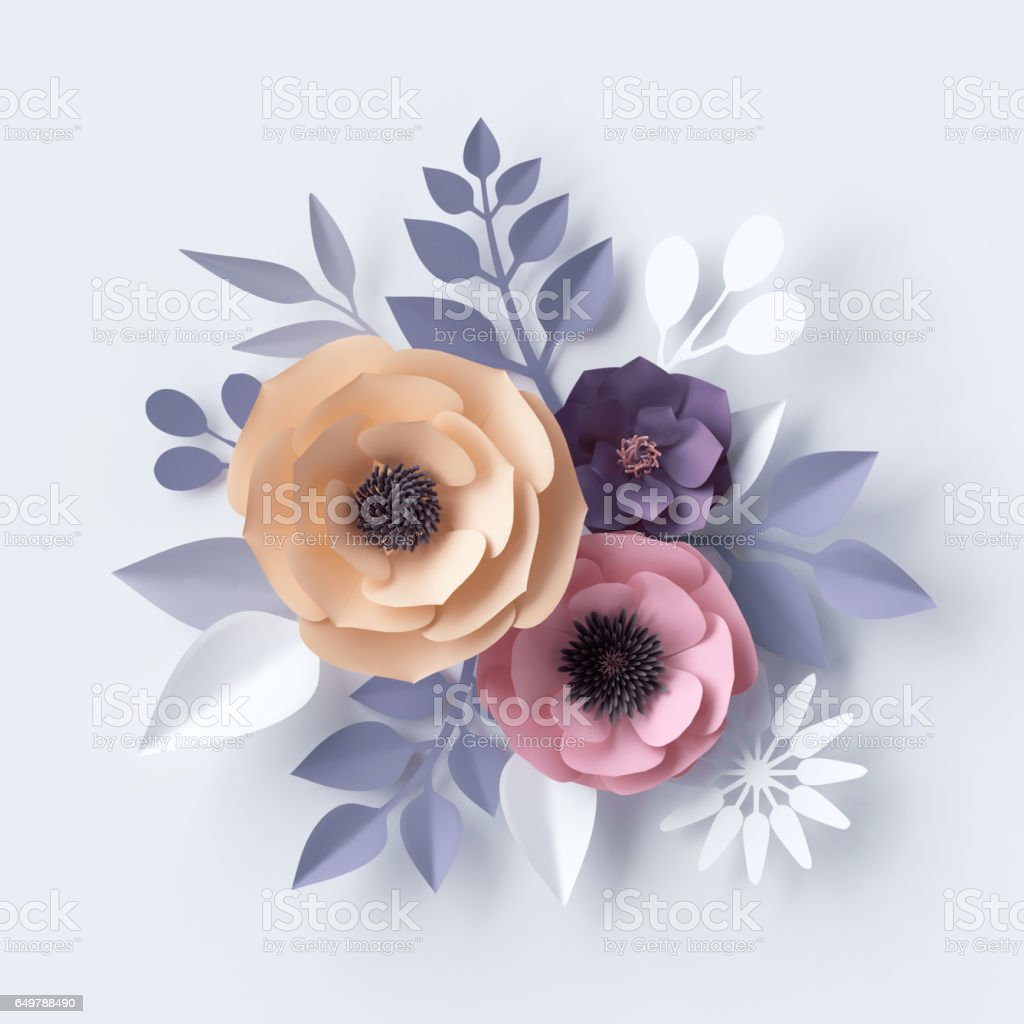 3d illustration, red pink paper flowers, floral background, Valentine's day heart stock photo