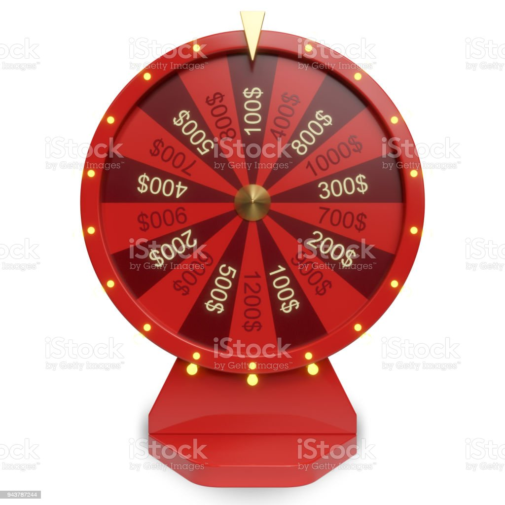 3d illustration red wheel of luck or fortune. Realistic spinning fortune wheel. Wheel fortune isolated on white background. stock photo