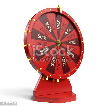 istock 3d illustration red wheel of luck or fortune. Realistic spinning fortune wheel. Wheel fortune isolated on white background. 943787248